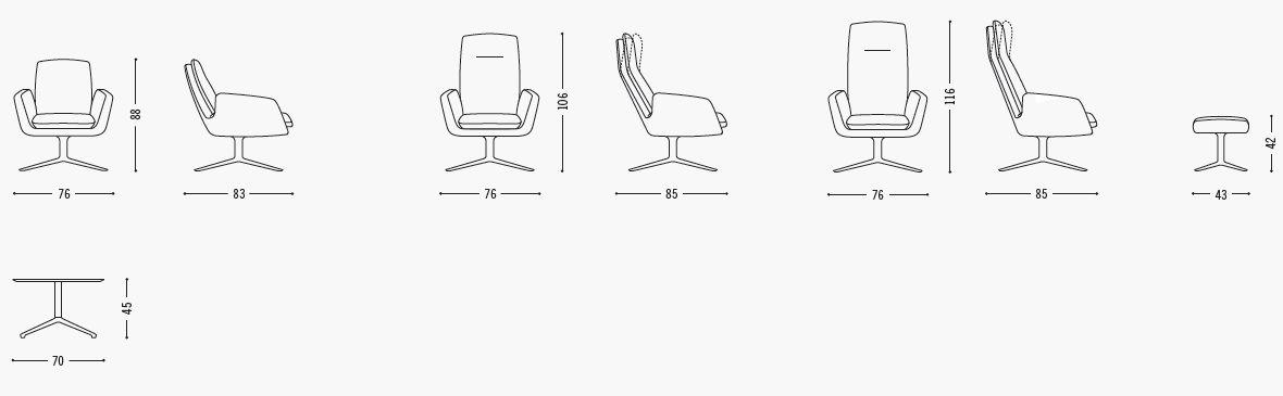 Cordia fauteuil van COR, specificaties